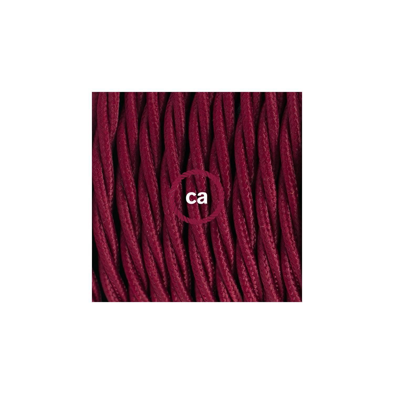 Cablaggio per lampada, cavo TM19 Effetto Seta Bordeaux 1,80 m. Scegli il colore dell'interuttore e della spina.
