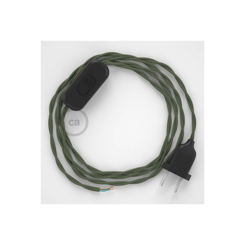 Cablaggio per lampada, cavo TC63 Cotone Verde Grigio 1,80 m. Scegli il colore dell'interuttore e della spina.