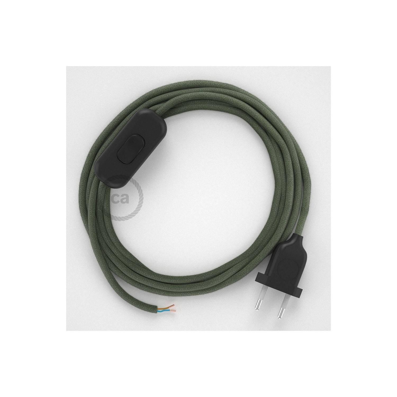 Cablaggio per lampada, cavo RC63 Cotone Verde Grigio 1,80 m. Scegli il colore dell'interuttore e della spina.