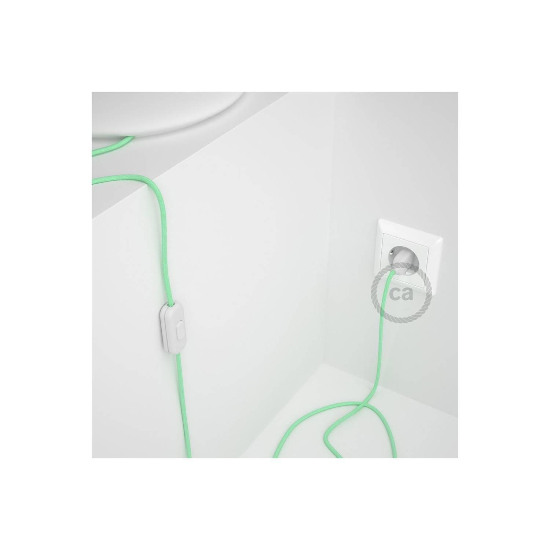 Cablaggio per lampada, cavo RC34 Cotone Latte Menta 1,80 m. Scegli il colore dell'interuttore e della spina.
