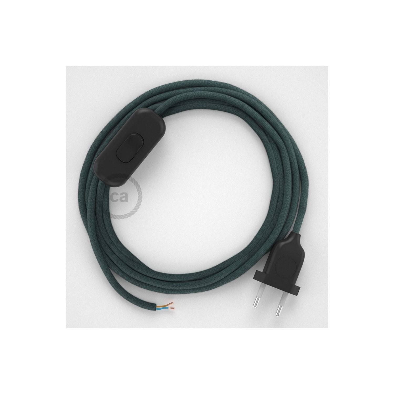 Cablaggio per lampada, cavo RC30 Cotone Grigio Pietra 1,80 m. Scegli il colore dell'interuttore e della spina.