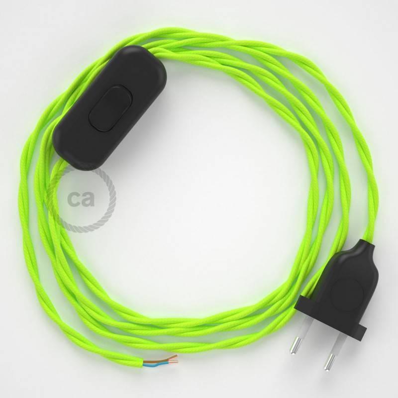 Cablaggio per lampada, cavo TF10 Effetto Seta Giallo Fluo 1,80 m. Scegli il colore dell'interuttore e della spina.