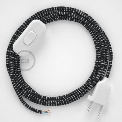 Cablaggio per lampada, cavo RT41 Effetto Seta Stelle 1,80 m. Scegli il colore dell'interuttore e della spina.