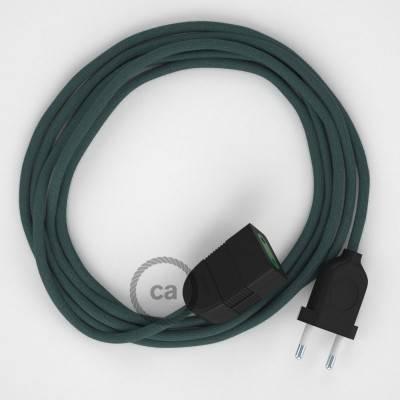 Prolunga elettrica con cavo tessile RC30 Cotone Grigio Pietra 2P 10A Made in Italy.