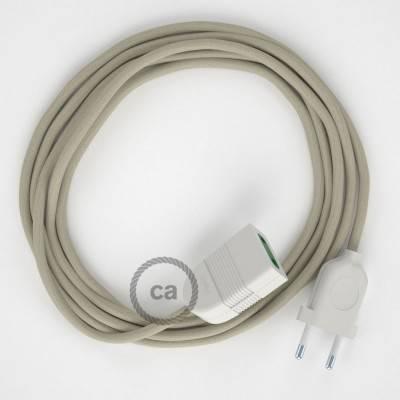 Prolunga elettrica con cavo tessile RC43 Cotone Tortora 2P 10A Made in Italy.