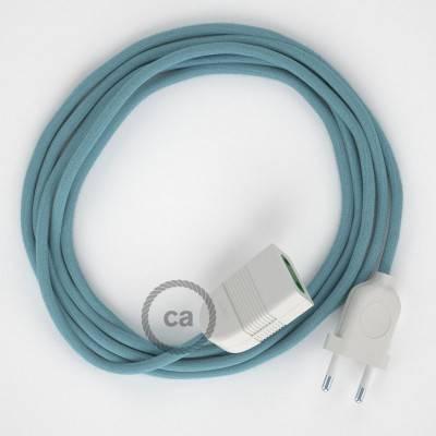 Prolunga elettrica con cavo tessile RC53 Cotone Oceano 2P 10A Made in Italy.