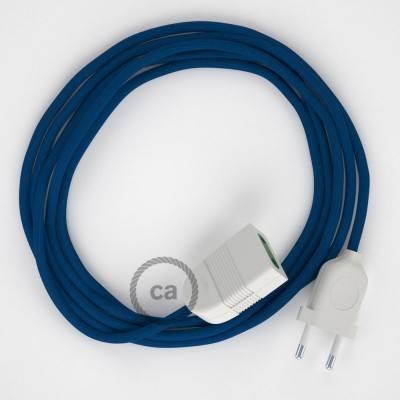 Prolunga elettrica con cavo tessile RM12 Effetto Seta Blu 2P 10A Made in Italy.
