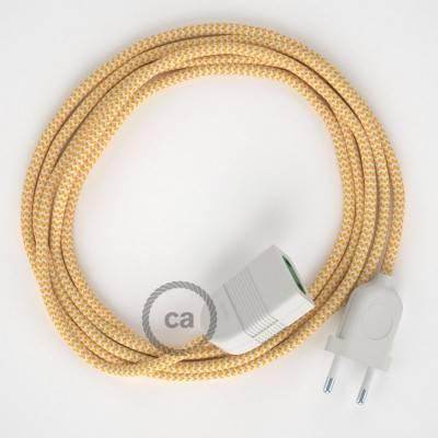 Prolunga elettrica con cavo tessile RZ10 Effetto Seta ZigZag Giallo 2P 10A Made in Italy.
