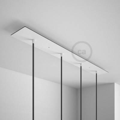 Rosone XXL rettangolare 90x12cm a 4 fori bianco completo di accessori.