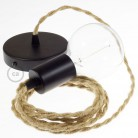 Pendel singolo, lampada sospensione cavo tessile Juta TN06