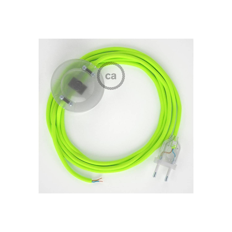 Cablaggio per piantana, cavo RF10 Effetto Seta Giallo Fluo 3 m. Scegli il colore dell'interruttore e della spina.