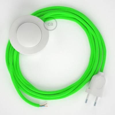 Cablaggio per piantana, cavo RF06 Effetto Seta Verde Fluo 3 m. Scegli il colore dell'interruttore e della spina.