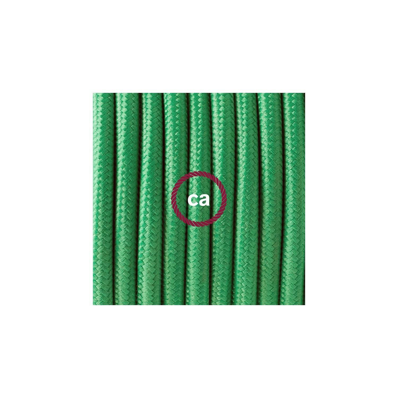 Cablaggio per piantana, cavo RM06 Effetto Seta Verde 3 m. Scegli il colore dell'interruttore e della spina.