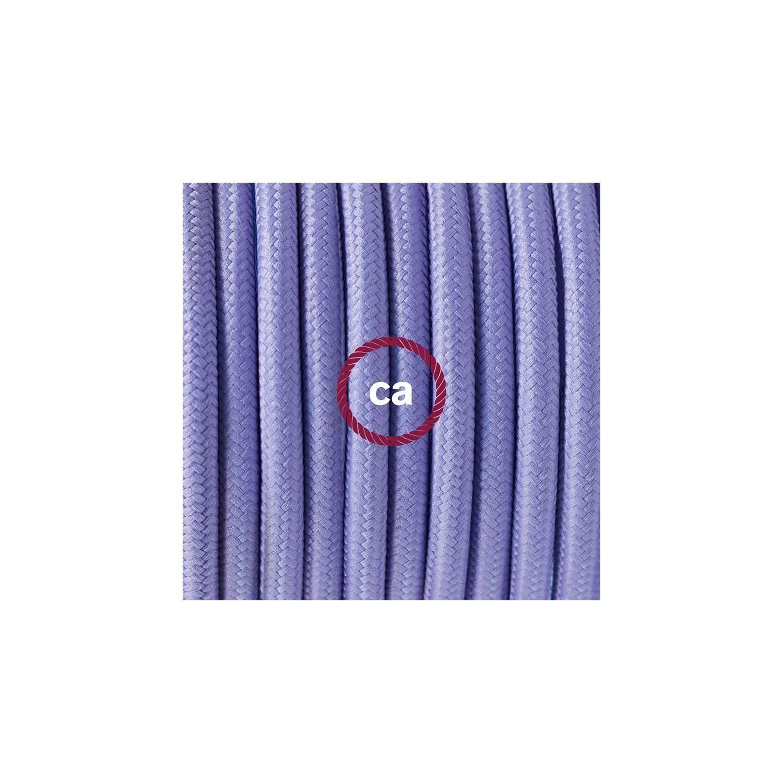 Cablaggio per piantana, cavo RM07 Effetto Seta Lilla 3 m. Scegli il colore dell'interruttore e della spina.