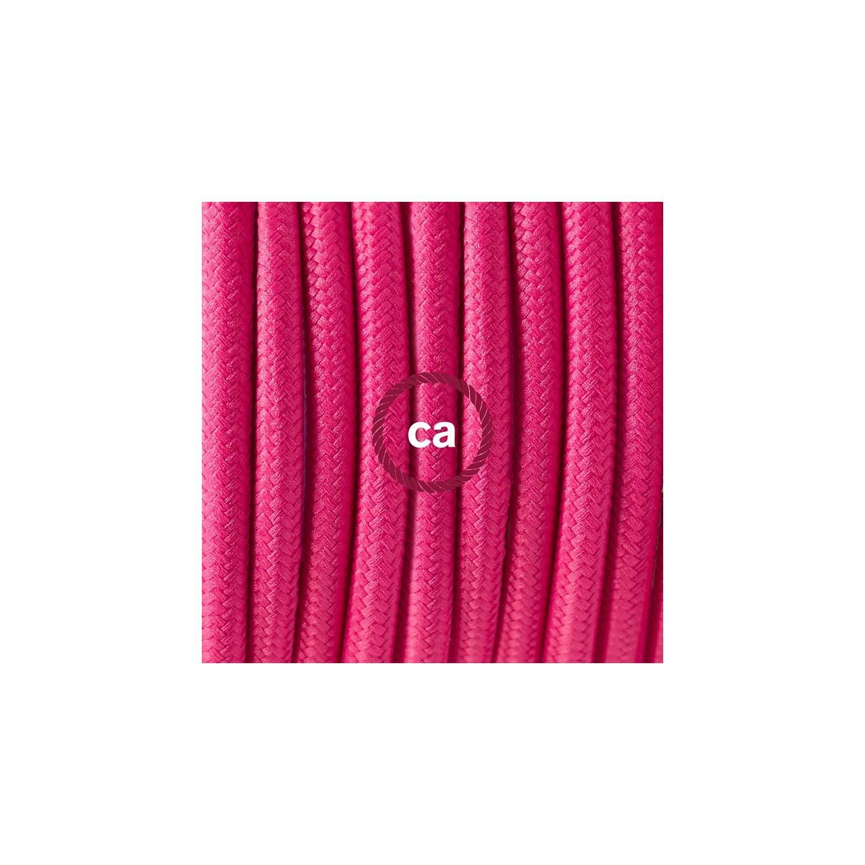 Cablaggio per piantana, cavo RM08 Effetto Seta Fucsia 3 m. Scegli il colore dell'interruttore e della spina.