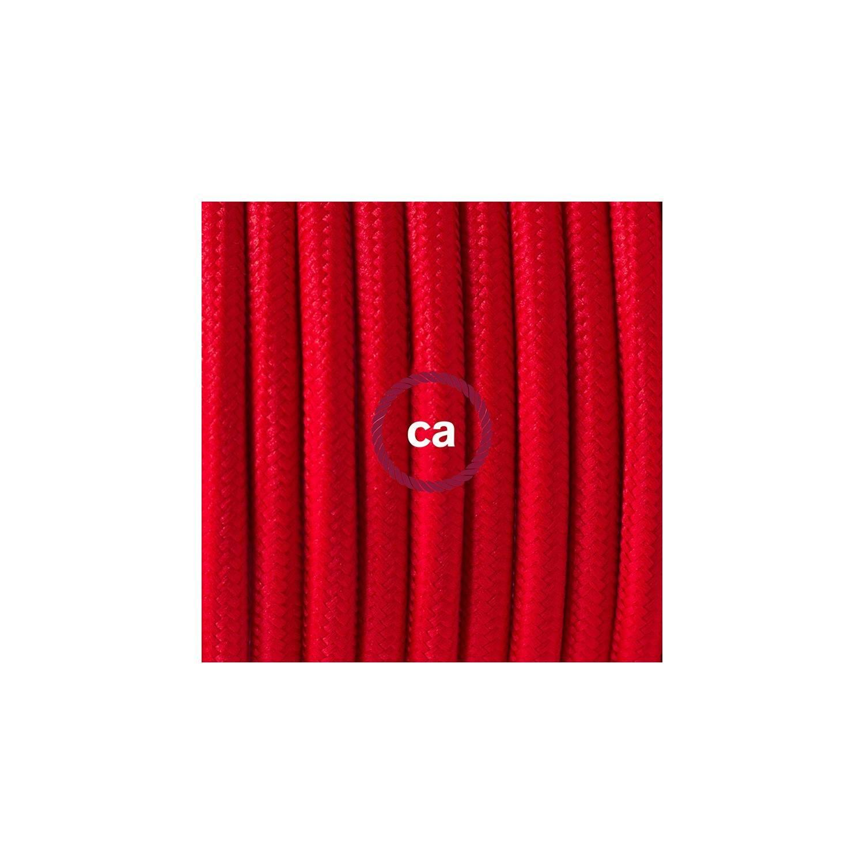 Cablaggio per piantana, cavo RM09 Effetto Seta Rosso 3 m. Scegli il colore dell'interruttore e della spina.
