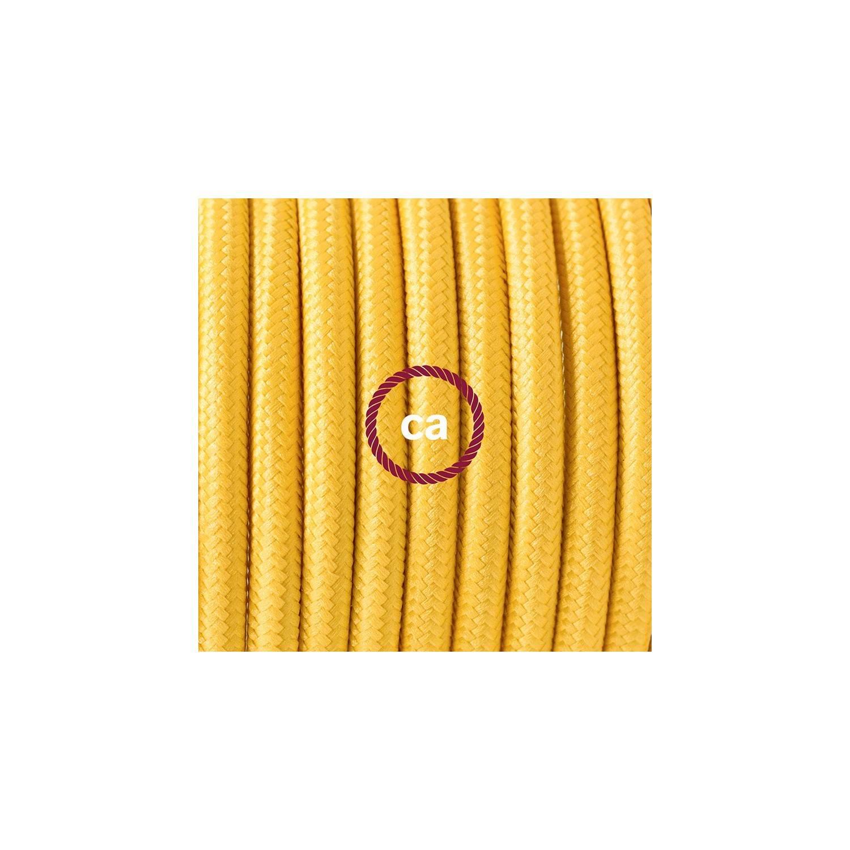 Cablaggio per piantana, cavo RM10 Effetto Seta Giallo 3 m. Scegli il colore dell'interruttore e della spina.