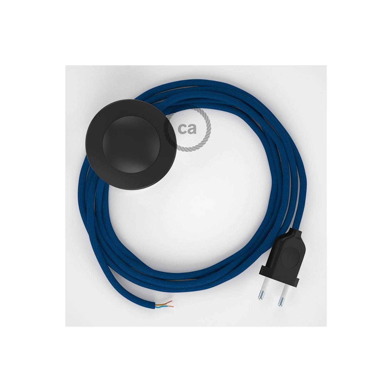 Cablaggio per piantana, cavo RM12 Effetto Seta Blu 3 m. Scegli il colore dell'interruttore e della spina.