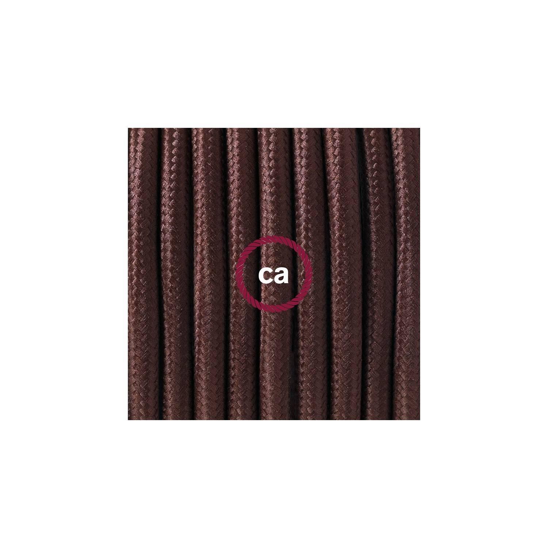 Cablaggio per piantana, cavo RM13 Effetto Seta Marrone 3 m. Scegli il colore dell'interruttore e della spina.
