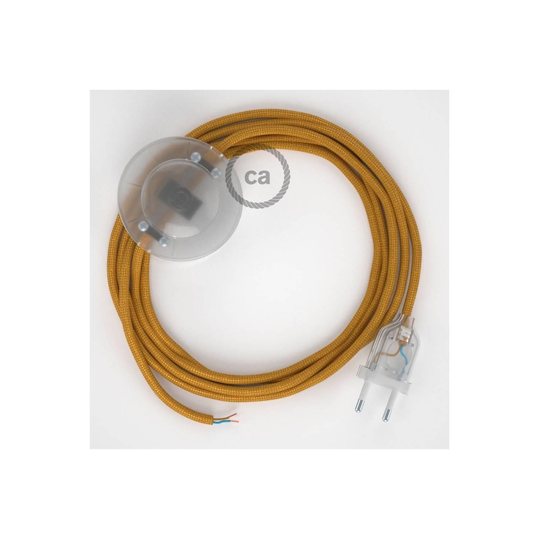 Cablaggio per piantana, cavo RM05 Effetto Seta Oro 3 m. Scegli il colore dell'interruttore e della spina.