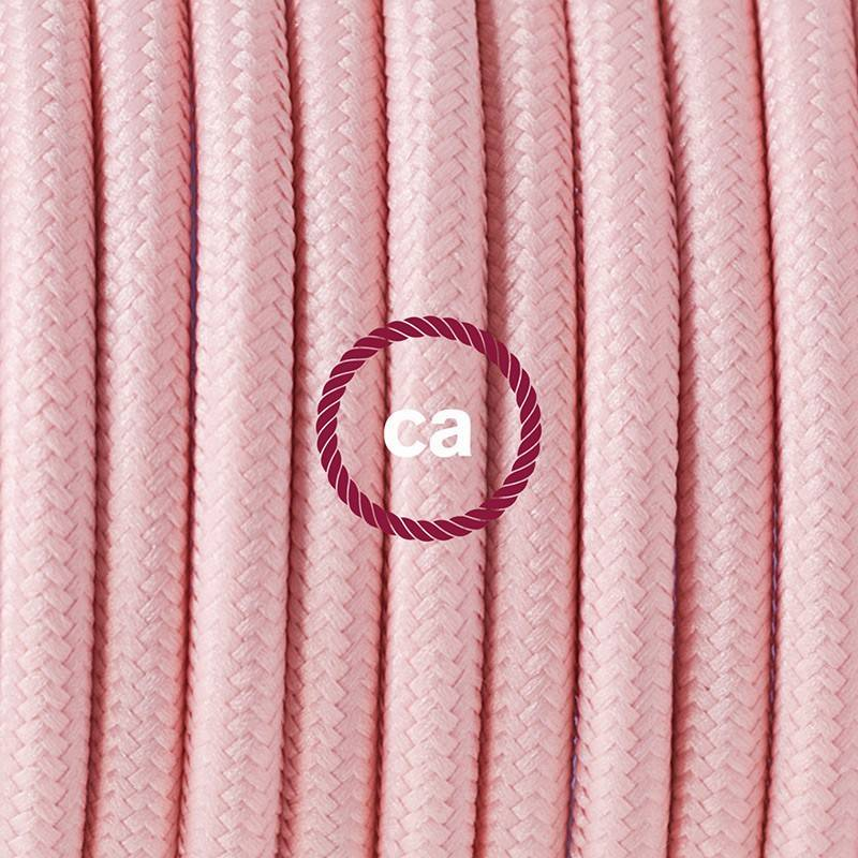 Cablaggio per piantana, cavo RM16 Effetto Seta Rosa Baby 3 m. Scegli il colore dell'interruttore e della spina.