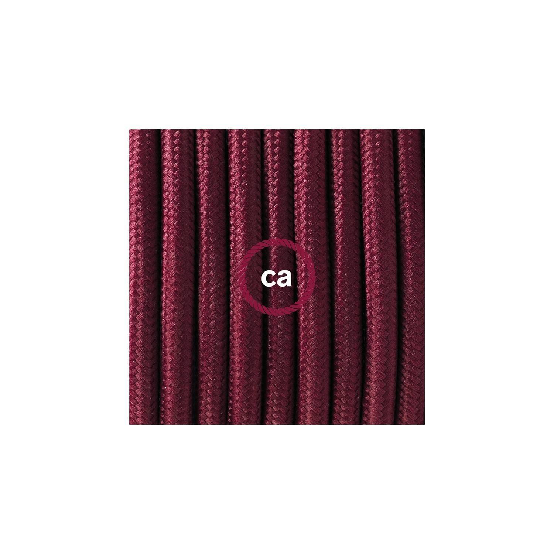 Cablaggio per piantana, cavo RM19 Effetto Seta Bordeaux 3 m. Scegli il colore dell'interruttore e della spina.