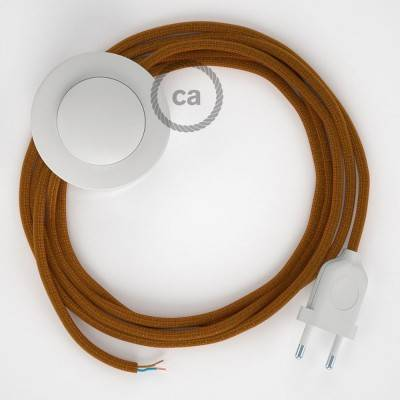 Cablaggio per piantana, cavo RM22 Effetto Seta Whiskey 3 m. Scegli il colore dell'interruttore e della spina.