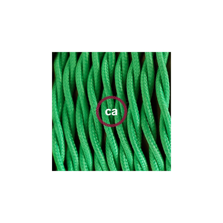 Cablaggio per piantana, cavo TM06 Effetto Seta Verde 3 m. Scegli il colore dell'interruttore e della spina.