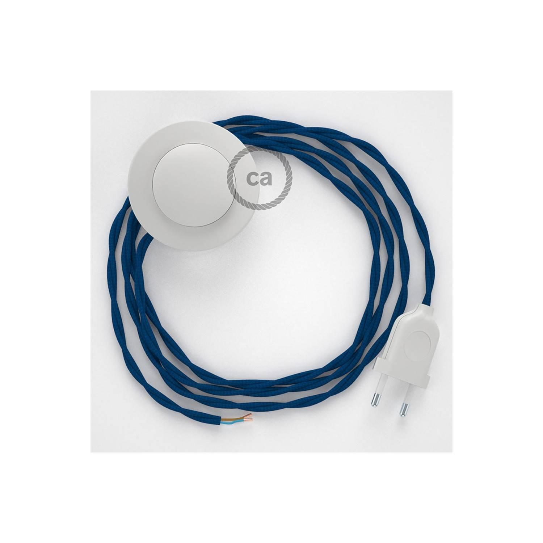 Cablaggio per piantana, cavo TM12 Effetto Seta Blu 3 m. Scegli il colore dell'interruttore e della spina.