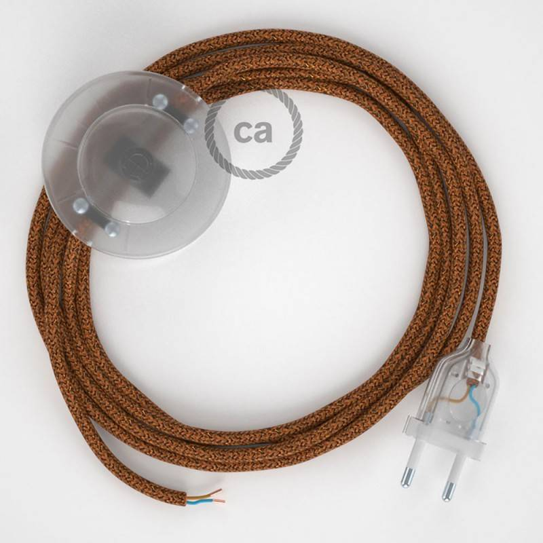 Cablaggio per piantana, cavo RL22 Effetto Seta Glitterato Rame 3 m. Scegli il colore dell'interruttore e della spina.