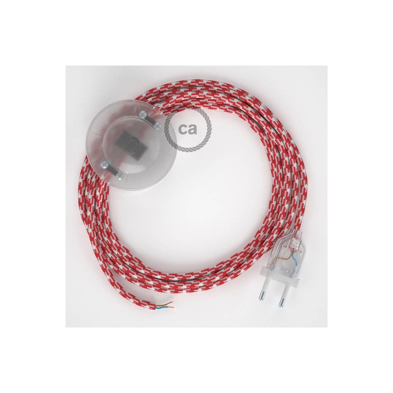 Cablaggio per piantana, cavo RP09 Effetto Seta Bicolore Rosso 3 m. Scegli il colore dell'interruttore e della spina.