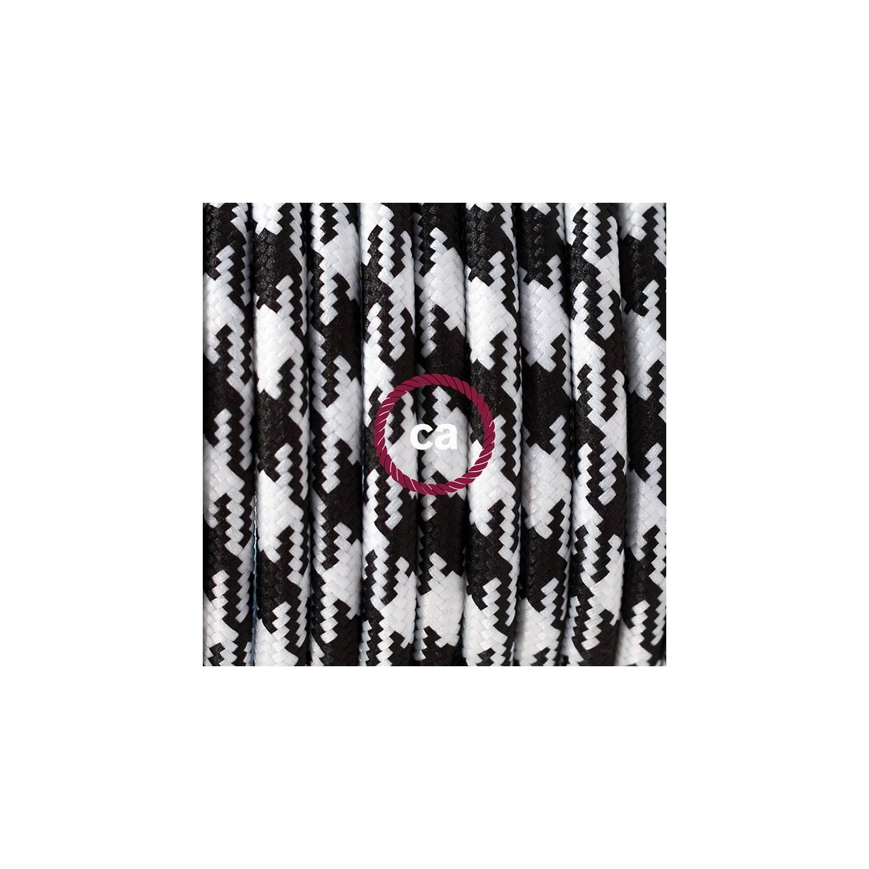 Cablaggio per piantana, cavo RP04 Effetto Seta Bicolore Nero 3 m. Scegli il colore dell'interruttore e della spina.