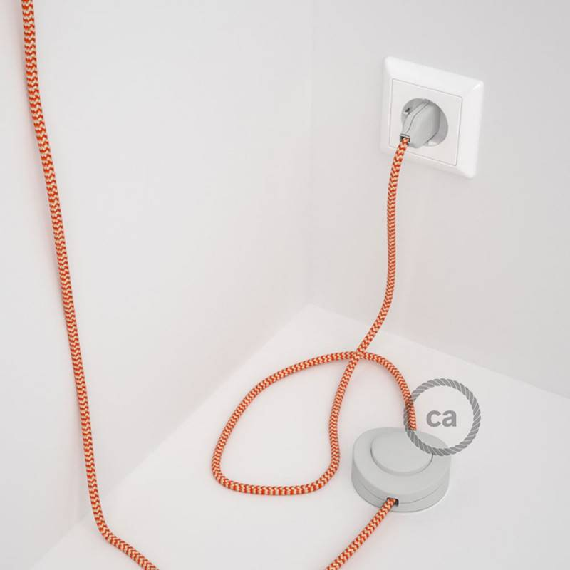 Cablaggio per piantana, cavo RZ15 Effetto Seta ZigZag Arancione 3 m. Scegli il colore dell'interruttore e della spina.