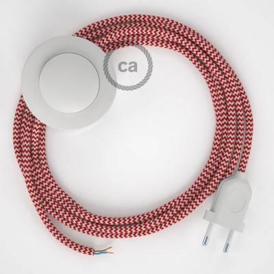 Cablaggio per piantana, cavo RZ09 Effetto Seta ZigZag Rosso 3 m. Scegli il colore dell'interruttore e della spina.