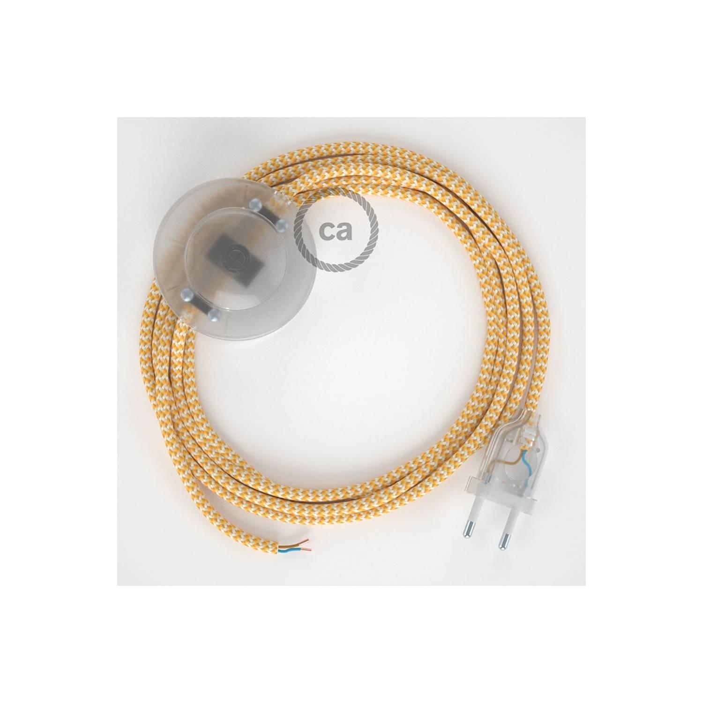 Cablaggio per piantana, cavo RZ10 Effetto Seta ZigZag Giallo 3 m. Scegli il colore dell'interruttore e della spina.