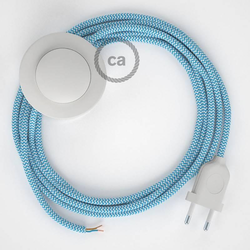 Cablaggio per piantana, cavo RZ11 Effetto Seta ZigZag Azzurro 3 m. Scegli il colore dell'interruttore e della spina.