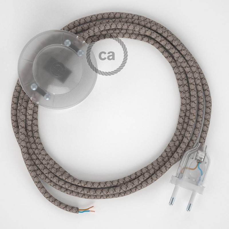 Cablaggio per piantana, cavo RD63 Cotone e Lino Naturale Losanga Corteccia 3 m. Scegli il colore dell'interruttore e della spina