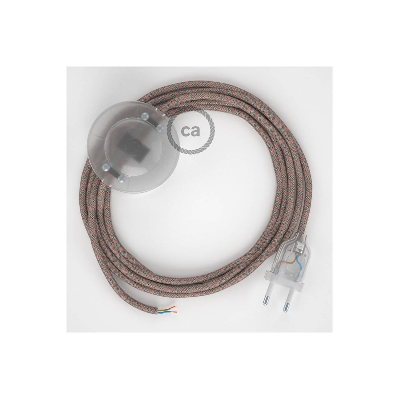 Cablaggio per piantana, cavo RD61 Cotone e Lino Losanga Rosa Antico 3 m. Scegli il colore dell'interruttore e della spina.