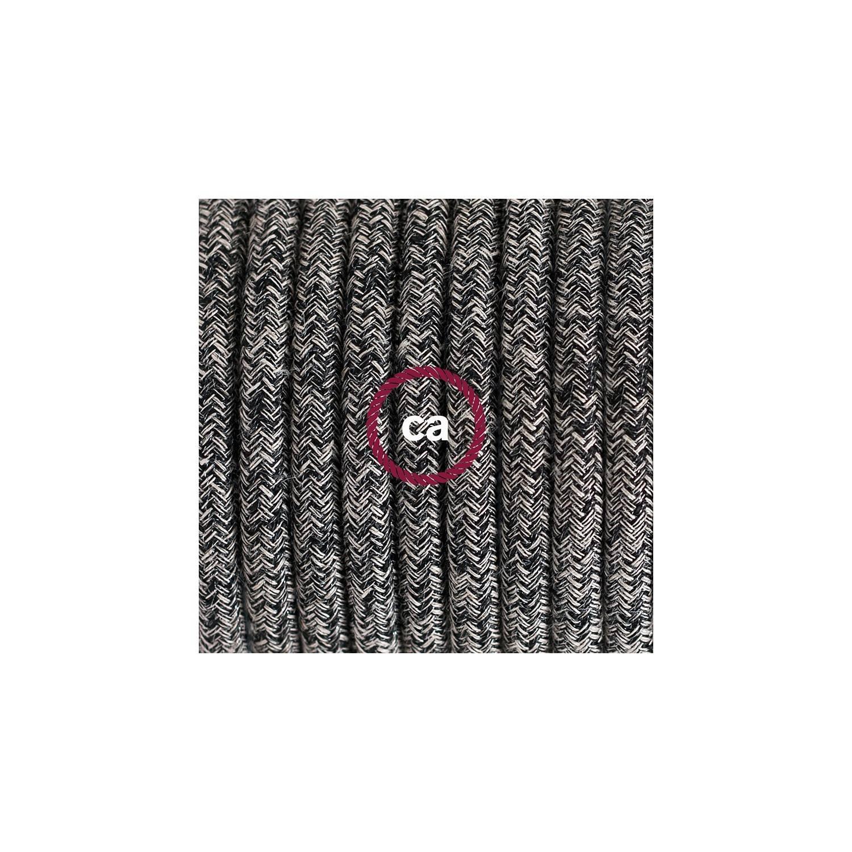 Cablaggio per piantana, cavo RS81 Cotone e Lino Naturale Nero 3 m. Scegli il colore dell'interruttore e della spina.