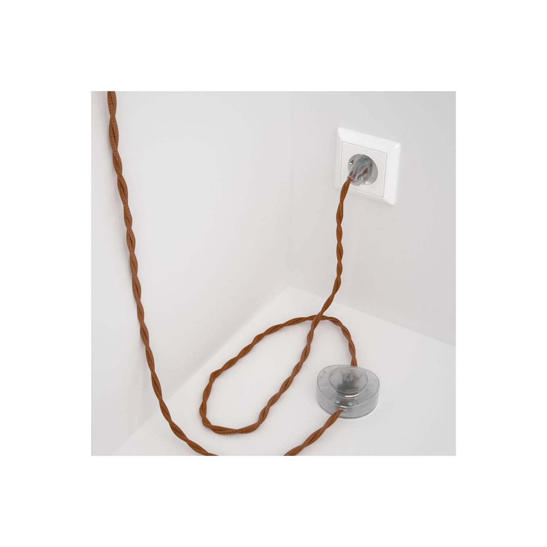 Cablaggio per piantana, cavo TM22 Effetto Seta Whiskey 3 m. Scegli il colore dell'interruttore e della spina.