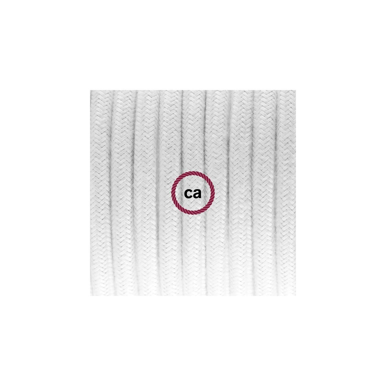 Cablaggio per piantana, cavo RC01 Cotone Bianco 3 m. Scegli il colore dell'interruttore e della spina.