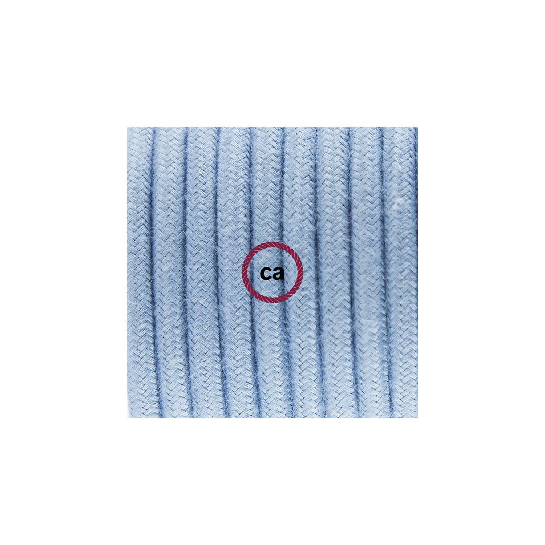 Cablaggio per piantana, cavo RC53 Cotone Oceano 3 m. Scegli il colore dell'interruttore e della spina.