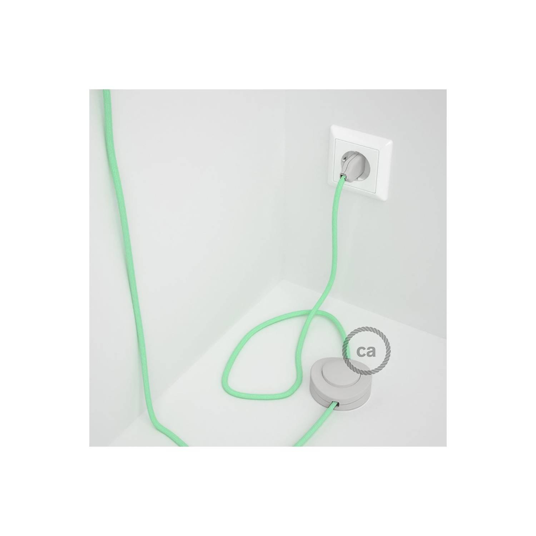 Cablaggio per piantana, cavo RC34 Cotone Latte Menta 3 m. Scegli il colore dell'interruttore e della spina.