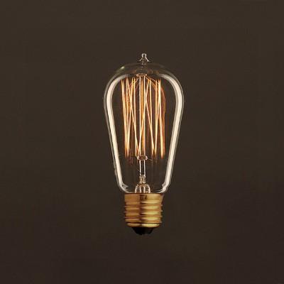 Lampadina Vintage Dorata Edison ST58 Filamento di Carbonio a Gabbia 30W E27 Dimmerabile 2000K