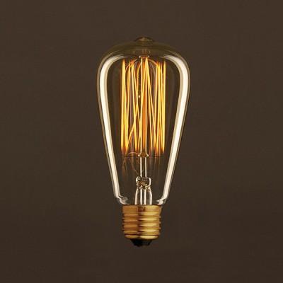 Lampadina Vintage Dorata Edison ST64 Filamento di Carbonio a Gabbia 30W E27 Dimmerabile 2000K