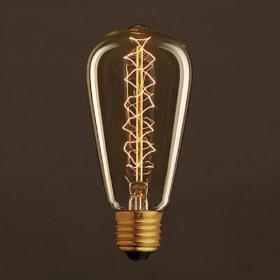 Lampadina Vintage Dorata Edison ST64 Filamento di Carbonio a Doppia Spirale 30W E27 Dimmerabile 2000K