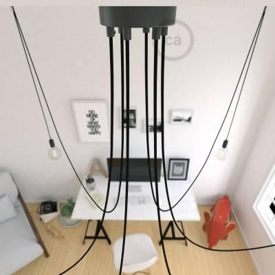 Spider, sospensione multipla a 6 cadute, metallo nero, cavo RM04 Nero, Made in Italy.