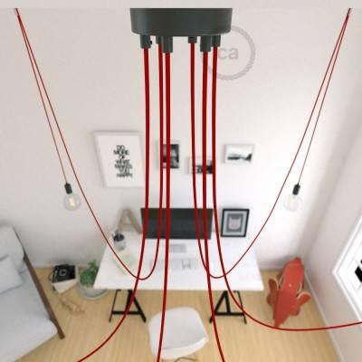Spider, sospensione multipla a 6 cadute, metallo nero, cavo RM09 Rosso, Made in Italy.