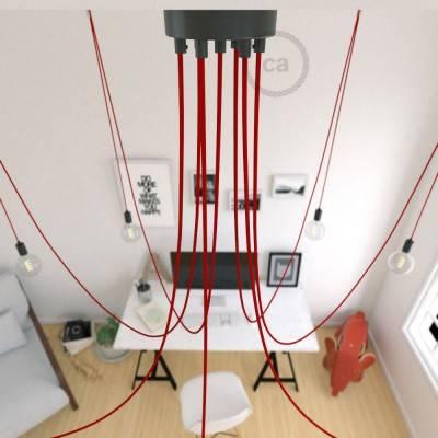 Spider, sospensione multipla a 7 cadute, metallo nero, cavo RM09 Rosso, Made in Italy.