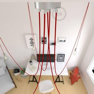 Spider, sospensione multipla a 5 cadute, metallo cromato, cavo RM09 Rosso, Made in Italy.